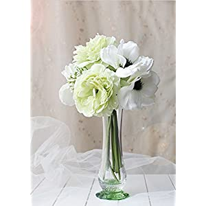 Sweet Home Deco 10'' Blooming Peony and Anemone Silk Artificial Wedding Bridal Bouquet/ Home Flower (No Pot Included) 114