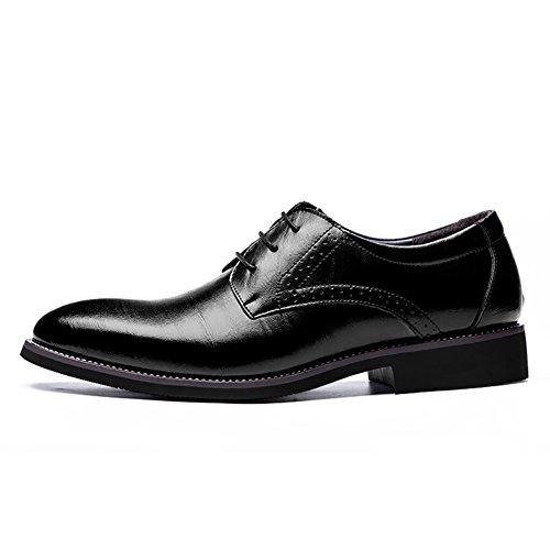 Buganda Mens Business Brogue Oxford Pekade Tå Skor Snör Åt Upp Läder Klassiska Skor Svart