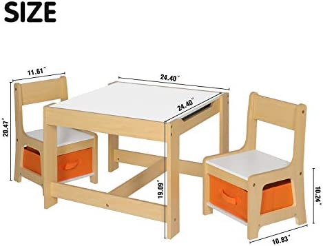 COEWSKE Kids Activity Wooden Table And Chairs Set With Storage Baskets Detachable Blackboard Includes 2 Seats And 1 Table For Playing,Reading,Drawing,Arts & Crafts And Entertainment (Vintage Maple)