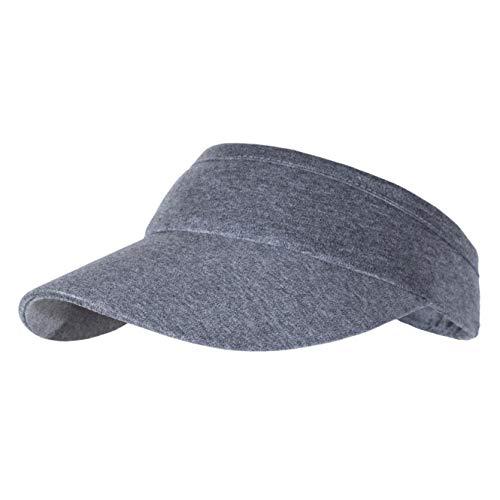 Non-Clip Comfortable Sun Visors for Women & Men, Cotton Elastic Cap for Daily Jogging Running Outdoor Sports Tennis, Grey ()