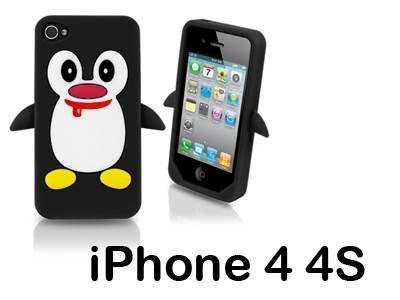 iXium jouet Pingouin 3d Noir Animal Housse Coque de protection souple en silicone gel Skin pour Apple iPhone 44S