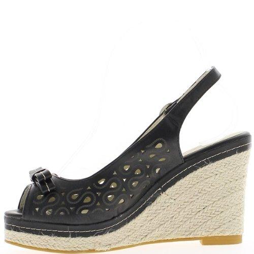 Nero con zeppa tacco 10cm e plateau sneakers sguardo 2,5 cm