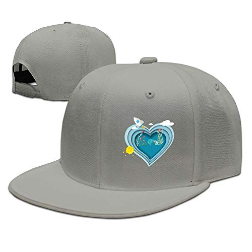 Aiguan Blue Love Flat Visor Baseball Cap, Fashion Snapback Hat Ash - Room Loveseat Ash Living