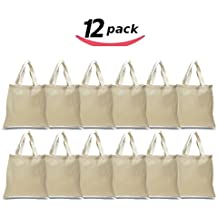 1 Dozen - (12 Pack) - Reusable 100 Percent Cotton Canvas 6oz. Fabric Blank Tote Bags in Bulk - Natural Color Grocery Shopping Bag - Wedding Party Favor Tote Gift Giveaway Bag - Art and Craft Bag