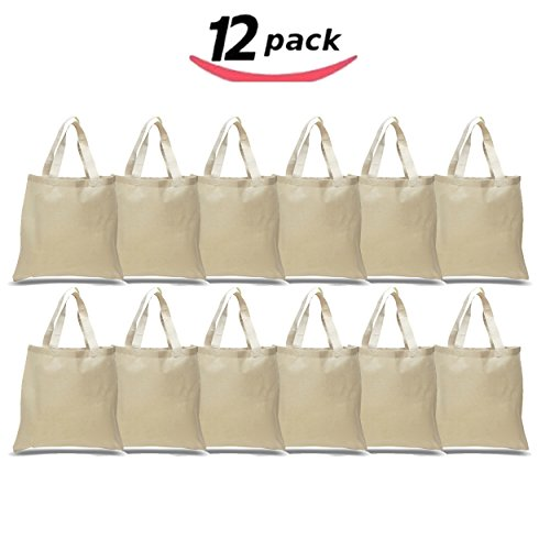 1 Dozen - (12 Pack) - Reusable 100 Percent Cotton Canvas 6oz. Fabric Blank Tote Bags in Bulk - Natural Color Grocery Shopping Bag - Wedding Party Favor Tote Gift (Cents Blank)