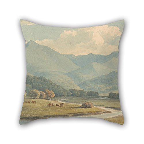Cushion Covers Of Oil Painting John Warwick Smith - Carnedd Llewelyn And Carnedd David, Carnarvonshire, Seen Across The River Ogwen 18 X 18 Inches / 45 By 45 Cm Best Fit For Husband Son Couch Shop (Flower Shop Warwick)