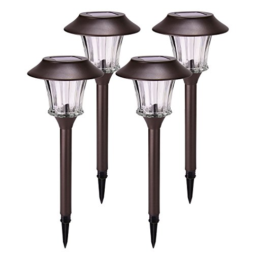 Sunwind Solar Garden Lights Outdoor Solar Pathway Lights Waterproof with Glass and Matte Brown Painted Stainless Steel Landscape Light Warm White for Lawn/Patio/Yard/Walkway/Driveway 4 Pack