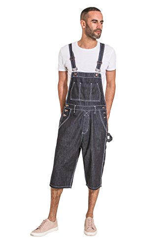 (USKEES Blake Indigo Denim Bib Overall Shorts Mens Dungaree Shorts Relaxed Fit)
