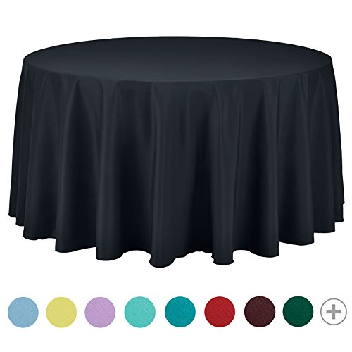 - VEEYOO 120 inch Round Solid Polyester Tablecloth for Wedding Restaurant Party Bridal Shower Kitchen Decoration Washable, Dark Gray