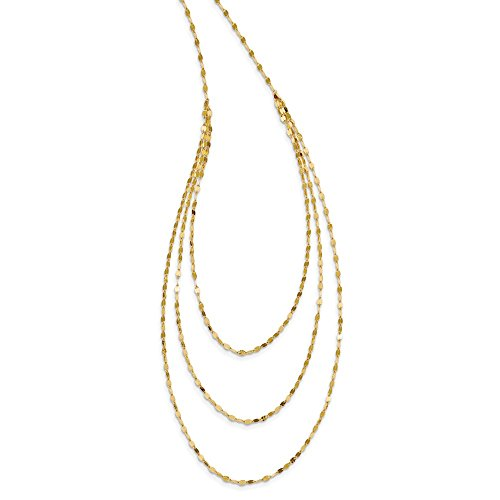 14k Yellow Gold Chain Necklace Pendant Charm Fancy Multi Layer Fine Jewelry Gifts For Women For Her ()