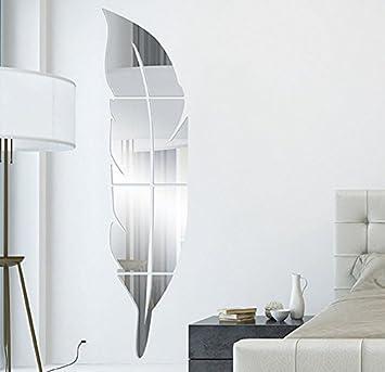 espejos decorativos de pared forma de pulma espejo pegatina para salon habitacion pasillo dormitorio de nio