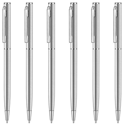 Unibene Slim Stainless Steel Retractable Ballpoint Pens, Nice Gift for Business Office Students Teachers Wedding Christmas, Medium Point(1 mm) 6 Pack-Black ink ()
