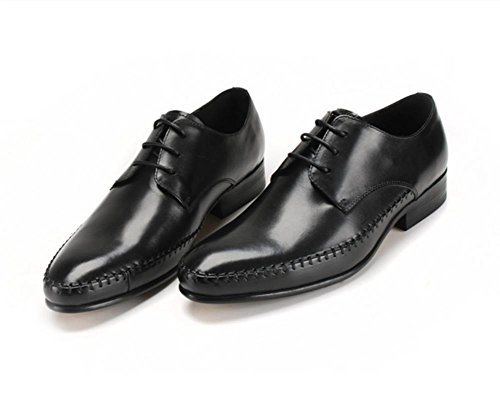 Men's Lined cowhide Lace Classic Black England Up Leather Pointed leather fashion shoes qrUrWnX