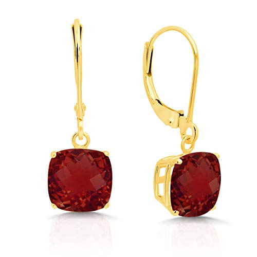 14k Yellow Gold Garnet Dangle Leverback Earrings (8mm)