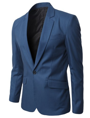 H2H Mens Fashion Blazers Business Suit Jackets with Single One Buttons DARKBLUE Asia L (JLSK09)