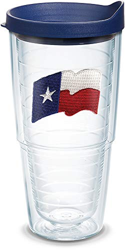 (Tervis 1079612 Texas Flag Insulated Tumbler with Emblem and Navy Lid, 24oz, Clear)