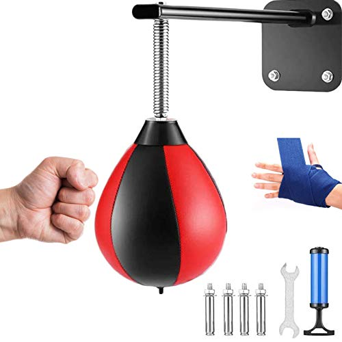 SFEEXUN Speed Bag Punching Bag for Relief Stress Wall Mounted Boxing Reflex Ball for Men Women Kids Home Office Gym