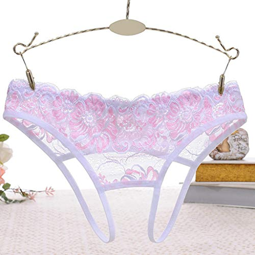 Womens Low Rise Temptation Open Back Underwear Lingerie Embroidered Sheer Floral Lace G-String Crotchless Hollow Thongs Panties by DDlong (Image #6)