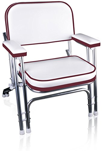 Leader Accessories Portable Folding Deck Chair with Aluminum Frame and Armrests(White/Red)