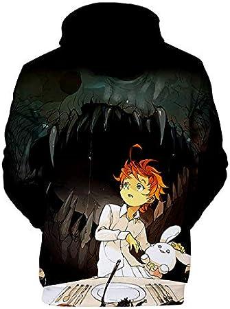 ZOSUO Sudaderas con Capucha de Anime The Promised Neverland Ropa Deportiva Tops Emma Cosplay Unisexo Manga Larga Chaqueta