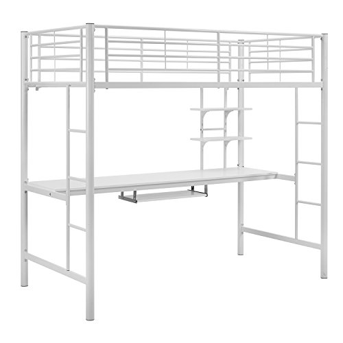Offex Premium Metal Twin Loft Bed with Detachable Wood Workstation - White (Workstation With White Loft Bed Twin Metal)