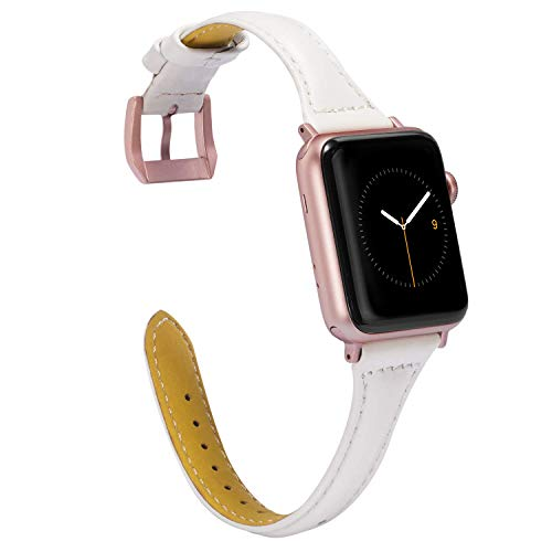 Wearlizer Slim Thin White Leather Compatible with Apple Watch Band 38mm 40mm Womens iWatch Sport Strap Leisure Wristband Replacement Cool Bracelet(Rose Gold Metal Clasp) Series 4 3 2