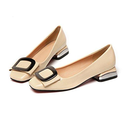 Dames Dames Pumps Pumps Loafers Vierkante Teen Comfort Instapper Blok Hiel Casual Klassieke Loafer Schoenen Beige