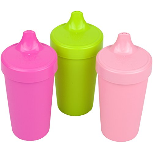 Re-Play Made in The USA 3pk Toddler Feeding No Spill Sippy Cups for Baby, Toddler, and Child Feeding - Bright Pink, Green, Baby Pink (Tulip) Durable, Dependable and Toddler Tough
