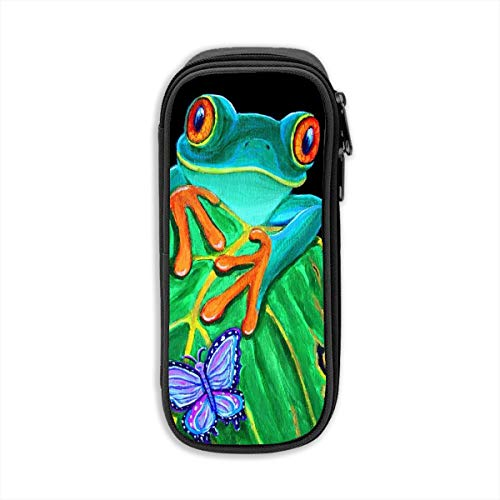 Crazy Popo Pen Case Pencil Bag, Portable Red-Eyed Tree Frog Butterfly Felt Students Stationery Pouch Zipper Bag Double Zipper Pens Pencils Highlighters Gel Pen Markers Students Office Clerks