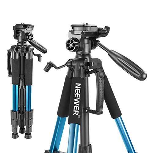 Neewer Portable 56 inches/142 Centimeters Aluminum Camera Tripod with 3-Way Swivel Pan Head,Bag for DSLR Camera,DV Video Camcorder Load up to 8.8 pounds/4 kilograms Blue(SAB234) ()