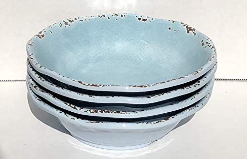 "(Tommy Bahama 100% Melamine 4-Cereal/Soup Bowls (7"" Diameter x 2"" Deep) RUSTIC CRACKLE LIGHT BLUE)"