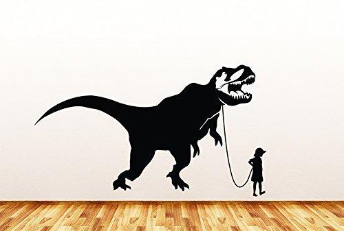 Pet Dinosaur - Tyrannosaurus Rex w Boy - Wall | Window | Door - Vinyl Decal Copyright © Yadda-Yadda Design Co. (37