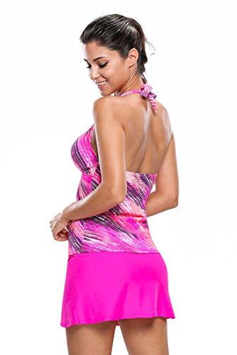 New rosy stampa Halter Neck Skort 2PCS Tankini set bikini Swimsuit Swimwear estivo taglia UK 14EU 42