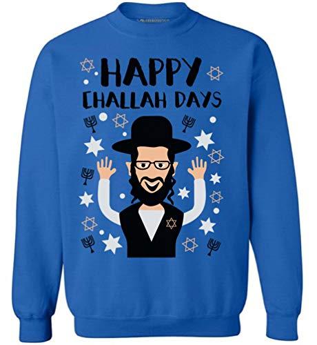 (Awkward Styles Hanukkah Sweatshirt Happy Challah Days Sweater Jewish Celebration Blue)