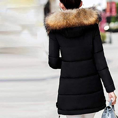 Plus Cappotti Piumini Manica Caldo Slim Giacca Schwarz Chic Cappuccio Prodotto Donna Eleganti Pelliccia Outerwear Trapuntata Addensare Ragazza Invernali Fit Fashion Con Lunga Sintetica rqxzRIwrS