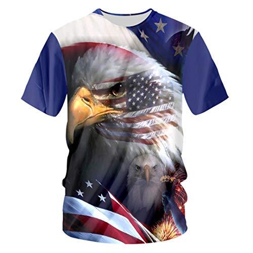 (Harajuku Women/Men 3D Print Amercian Flag Eagle T-Shirt Unisex Hiphop Short Sleeve O-Neck Tee Shirts American Flag Eagle)