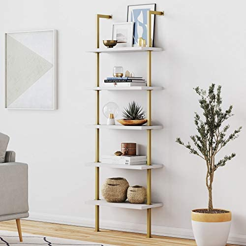 Nathan James Theo 5-Shelf Modern Bookcase, Open Wall Mount Ladder Bookshelf with Industrial Metal Frame, White/Gold
