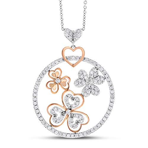 1.07 Ct. Natural Diamond Circle, Heart, Flower Pendant 14k White & Rose Gold ()