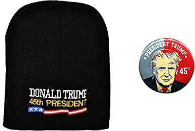 Donald Trump 45th President Beanie Hat and Button Combo