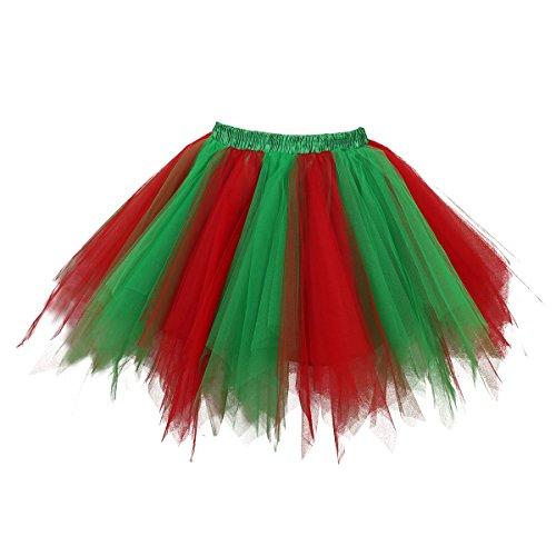 Topdress Women's 1950s Vintage Tutu Petticoat Ballet Bubble Skirt (26 Colors) Green Red (1950s Dance Costume)