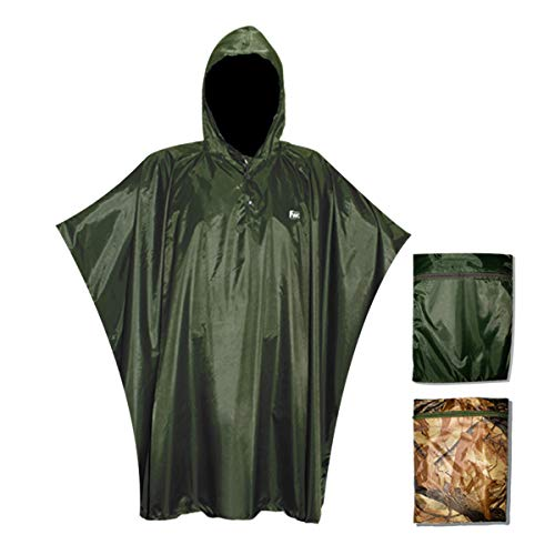 Navis Marine Outdoor Poncho for Women Men Rain Jacket with Hood Zipper Pocket Durable Reusable Portable (Dark Green) ()