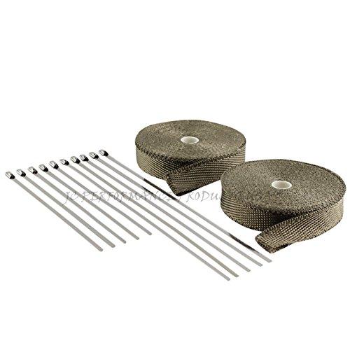 (JC Performance Glossy Lava Rock Titanium High Heat Fiberglass Double Rolls - 25% Thinner Than Our Standard Wrap! - Exhaust Header & Pipe Wrap Thermo Basalt (1