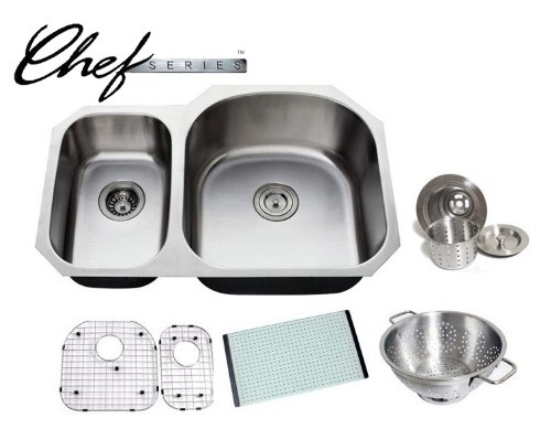 Chef Series 32 Inch Premium 16 Gauge Stainless Steel Undermount 30 70 D-bowl Offset Kitchen Sink with Free Accessories