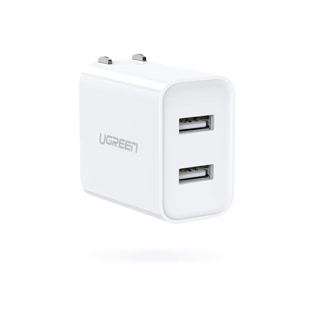 UGREEN USB Charger 3.1A Dual Port Wall Charger Power Adapter with Foldable Plug for iPhone XR Xs Max X 8 7 6S, BLU G8 G6, Moto E6, LG W30 W10, Xiaomi, Google Pixel, Samsung Galaxy A10 A20 and More