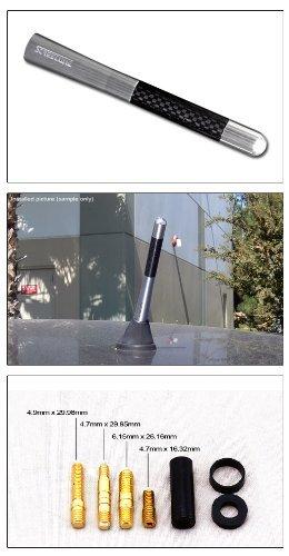 [해외]5 진짜 탄소 섬유 알루미늄 짧은 안테나 광택 실버 유니버설 스크류 기지/5  Real Carbon Fiber Aluminum Short Antenna Polished silver Universal Screws Base