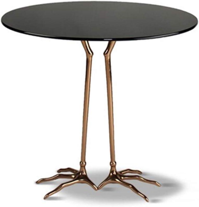Mesa auxiliar Dfghbn de vidrio templado, redonda, moderna, con patas de pata de pájaro, para el salón, para el hogar, oficina, muebles, mesa auxiliar, metal, negro, 50X50X60CM: Amazon.es: Hogar
