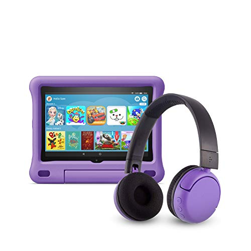 All-new Fire HD 8 Kids Edition tablet (32 GB, Purple Kid-Proof Case) + BuddyPhones Headset, Pop Time in Purple (Ages 8…