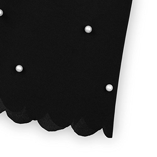 T Perles Neck Casual chemise shirt T shirt Noir femme O chic Wavy Blouse courtes Womens manches Edge Challeng casual Noir soiree 7aZzqzw