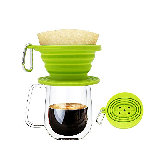 Wolecok Silicone Collapsible Coffee Filter, Camping Coffee Dripper Cone, Pour over Coffee Maker green