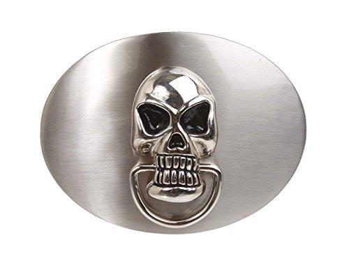 (BBBelts Men Silver Satin Finish Door Knocker Skull Oval Buckle For 1-1/2